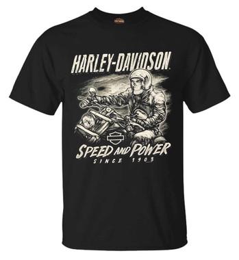 Harley-Davidson Men's Speed & Power Biker Short Sleeve Cotton T-Shirt, Black - Wisconsin Harley-Davidson