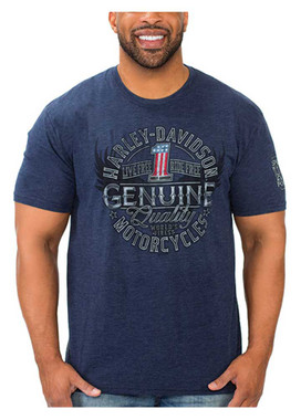 Harley-Davidson Men's Genuine #1 Short Sleeve Poly-Blend T-Shirt, Navy Blue - Wisconsin Harley-Davidson