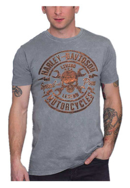Harley-Davidson Men's Rusty Skull Short Sleeve Cotton T-Shirt, Charcoal Wash - Wisconsin Harley-Davidson