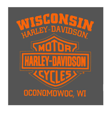 Harley-Davidson Men's Engine Label Short Sleeve Cotton Crew-Neck T-Shirt, Tar - Wisconsin Harley-Davidson