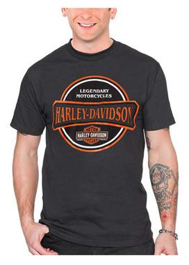 Harley-Davidson Men's Engine Label Short Sleeve Cotton Crew-Neck T-Shirt, Tar - Wisconsin Harley-Davidson