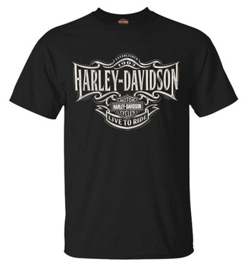 Harley-Davidson Men's Live To Ride H-D Short Sleeve Cotton T-Shirt, Solid Black - Wisconsin Harley-Davidson