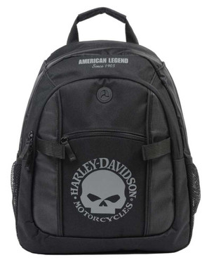 Harley-Davidson Willie G Skull Logo Day Backpack - Black & Gray BP1929S-GRYBLK - Wisconsin Harley-Davidson