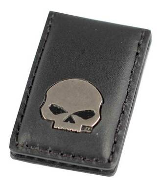 Harley-Davidson Mens Willie G Skull Medallion Leather Magnetic Money Clip, Black - Wisconsin Harley-Davidson
