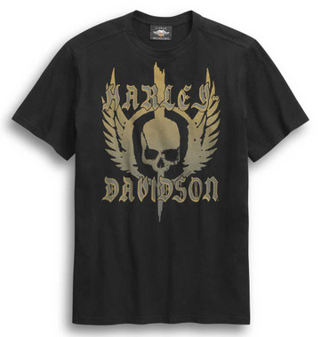 Harley-Davidson Men's Skull Winged Short Sleeve T-Shirt - Black 96307-20VM - Wisconsin Harley-Davidson