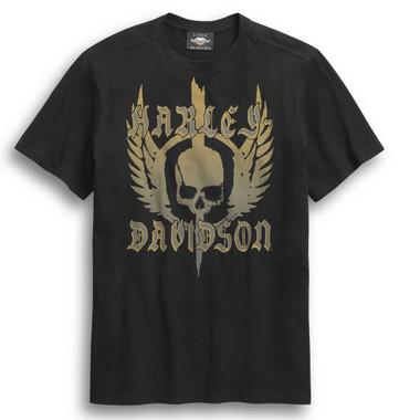 Harley-Davidson Men's Skull Winged Short Sleeve T-Shirt - Black 96307-20VM - Wisconsin Harley-Davidson