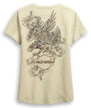 Harley-Davidson Women's Eagle & Roses V-Neck Short Sleeve Tee - Beige 96317-20VW - Wisconsin Harley-Davidson