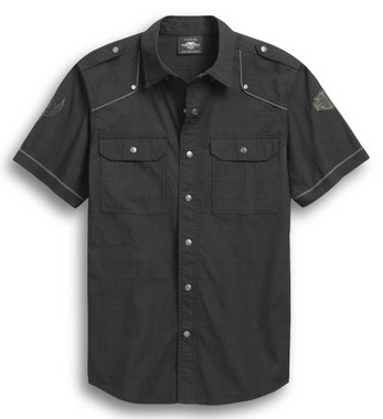 Harley-Davidson Men's Accent Piping Skull Wing Short Sleeve Shirt 96300-20VM - Wisconsin Harley-Davidson