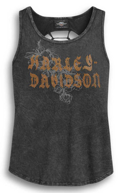 Harley-Davidson Women's Slash Back Sleeveless Tank Top, Wash Black 96319-20VW - Wisconsin Harley-Davidson