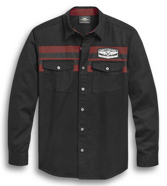 Harley-Davidson Men's Chest Stripe Long Sleeve Woven Shirt, Black 96304-20VM - Wisconsin Harley-Davidson