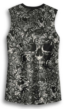 Harley-Davidson Womens Allover Print Skull Sleeveless Tank Top, Black 96316-20VW - Wisconsin Harley-Davidson