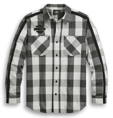 Harley-Davidson Men's Sleeve Stripe Long Sleeve Plaid Woven Shirt 96303-20VM - Wisconsin Harley-Davidson