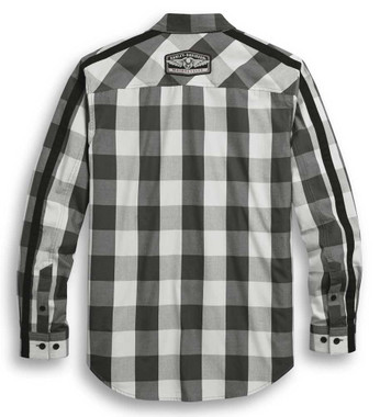 Harley-Davidson Men's Sleeve Stripe Long Sleeve Plaid Woven Shirt 96303-20VM - Wisconsin Harley-Davidson