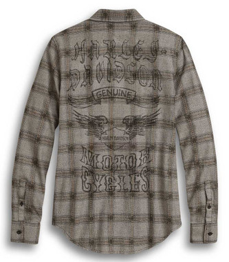 Harley-Davidson Women's Genuine Winged Logo Plaid Long Sleeve Shirt 96314-20VW - Wisconsin Harley-Davidson