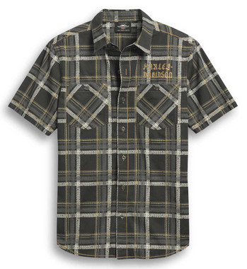 Harley-Davidson Men's Tire Tread Short Sleeve Plaid Woven Shirt 96295-20VM - Wisconsin Harley-Davidson