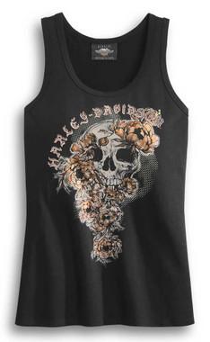 Harley-Davidson Women's Skull & Roses Sleeveless Tank Top -Black 96322-20VW - Wisconsin Harley-Davidson