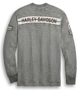 Harley-Davidson Men's H-D 1903 Long Sleeve Henley - Heather Gray 96310-20VM - Wisconsin Harley-Davidson