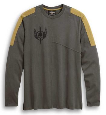 Harley-Davidson Men's Skull Wing Shield Long Sleeve Knit Shirt, Gray 96308-20VM - Wisconsin Harley-Davidson