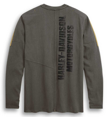 Harley-Davidson Men's Skull Wing Shield Long Sleeve Knit Shirt, Gray 96308-20VM - Wisconsin Harley-Davidson