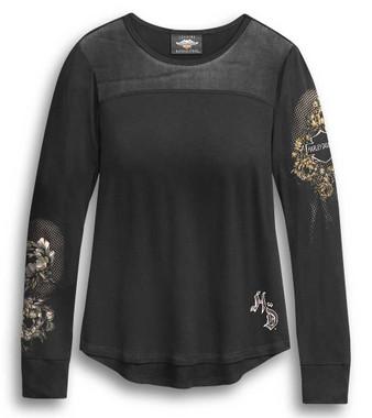 Harley-Davidson Women's Mesh Yoke Skull & Roses Long Sleeve Shirt 96321-20VW - Wisconsin Harley-Davidson