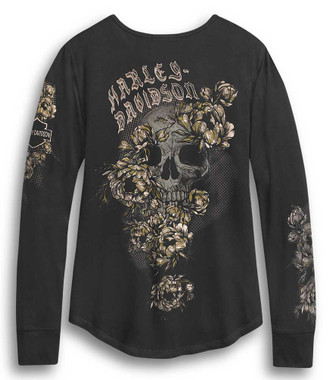 Ladies Rhinestone Ride Free Roses Wings Long Sleeve Chain Front Shirt