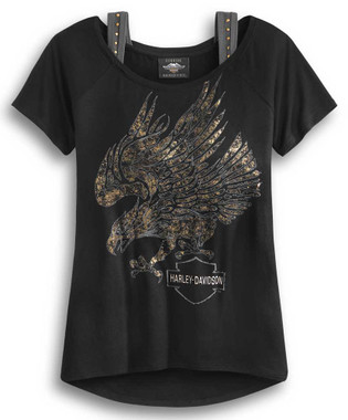 Harley-Davidson Women's Metallic Eagle Logo Short Sleeve Tee, Black 96318-20VW - Wisconsin Harley-Davidson