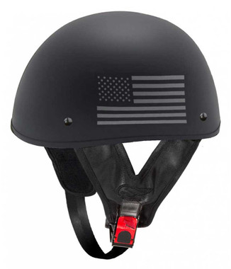 Fulmer Powersports 301 Tac Respect Flag Shorty Motorcycle Half Helmet - Black - Wisconsin Harley-Davidson