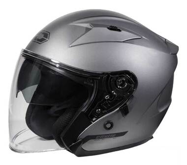 Castle Avenue SV Open Face Sunshield Motorcycle Helmet - Matte Titanium - Wisconsin Harley-Davidson