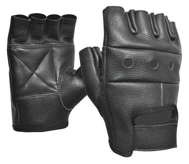 Fulmer Men's 550 Blaze Fingerless Cowhide Leather Motorcycle Gloves - Black - Wisconsin Harley-Davidson