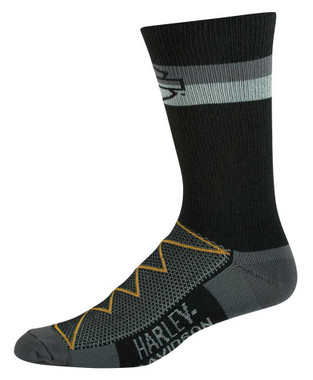 Harley-Davidson Men's 2-Pack Bright Stripe Performance Cool Riding Socks, Black - Wisconsin Harley-Davidson