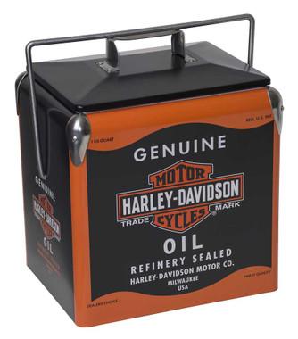 Harley-Davidson Oil Can Retro Metal Cooler - 13 liter, Black & Orange HDX-98510 - Wisconsin Harley-Davidson