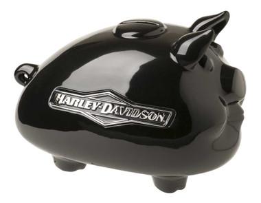 Harley-Davidson Ceramic Hog Bank with Tank Graphic Medium Size - Black HDX-99175 - Wisconsin Harley-Davidson