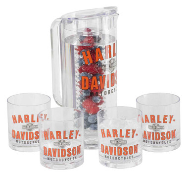 Harley-Davidson Retro HD Graphic Acrylic Infuser Pitcher & Tumbler Set HDX-98512 - Wisconsin Harley-Davidson