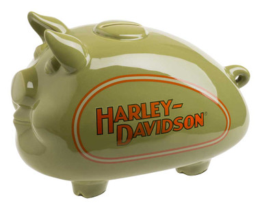 Harley-Davidson 1940s Tank Graphic Medium Ceramic Hog Bank Red HDX-99140