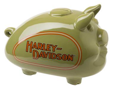 Harley-Davidson Ceramic 1930s Tank Graphic Medium Size Hog Bank -Green HDX-99174 - Wisconsin Harley-Davidson
