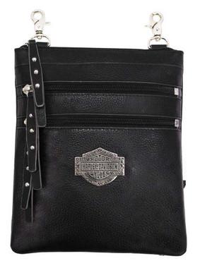 Harley-Davidson Womens B&S Filigree Logo Pebbled Leather Hip Bag w/Strap - Black - Wisconsin Harley-Davidson