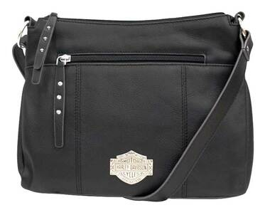 Harley-Davidson Womens B&S Filigree Logo Pebbled Leather Crossbody Purse - Black - Wisconsin Harley-Davidson