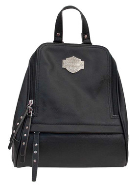 Harley-Davidson Women's B&S Filigree Logo Pebbled Leather Backpack - Black - Wisconsin Harley-Davidson