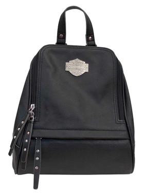 Harley-Davidson Women's B&S Filigree Logo Pebbled Leather Backpack - Black - Wisconsin Harley-Davidson