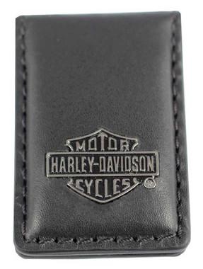 Harley-Davidson Men's B&S Medallion Leather Magnetic Money Clip - Black - Wisconsin Harley-Davidson