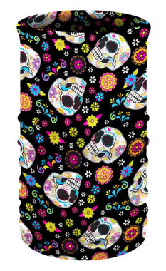 That's A Wrap Women's Fiesta Skulls Multi-Function Reversible Tube Face Cover - Wisconsin Harley-Davidson