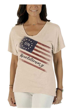 Liberty Wear Women's Betsy Ross Flag Relaxed Fit Short Sleeve V-Neck Tee, Oat - Wisconsin Harley-Davidson