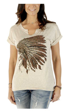 Liberty Wear Women's Battle Headdress Short Sleeve Notch Neck Tee - Oat - Wisconsin Harley-Davidson