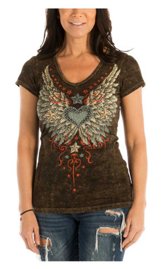Liberty Wear Women's Vintage Wings & Stars Short Sleeve V-Neck Fitted Tee, Brown - Wisconsin Harley-Davidson