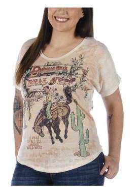 Liberty Wear Women's Vintage Buffalo Bill's Short Sleeve Curved Hem Dolman Top - Wisconsin Harley-Davidson
