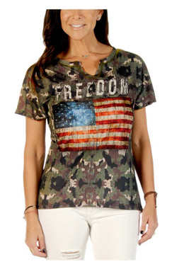 Liberty Wear Women's Freedom Flag Camo Print Short Sleeve Notched Neck Tee - Wisconsin Harley-Davidson