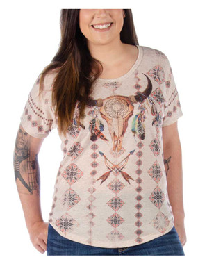 Liberty Wear Women's Dixie Steer Skull Short Sleeve Curved Hem Dolman Top - Wisconsin Harley-Davidson