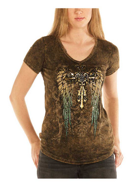 Liberty Wear Women's Teal Gradient Wings Embellished Short Sleeve Tee, Brown - Wisconsin Harley-Davidson