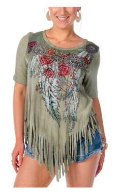 Liberty Wear Women's Outlaw Embellished Fringe Triangular Hem Short Sleeve Top - Wisconsin Harley-Davidson
