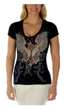 Liberty Wear Women's Guns & Wings Embellished Short Sleeve V-Neck Tee - Black - Wisconsin Harley-Davidson